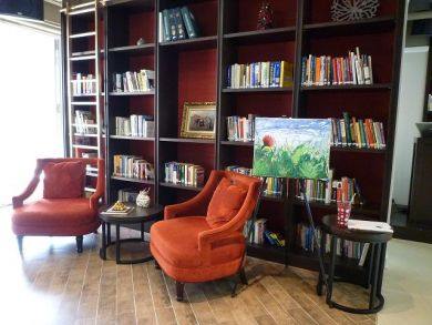 Our book collection creates a relaxing environment
